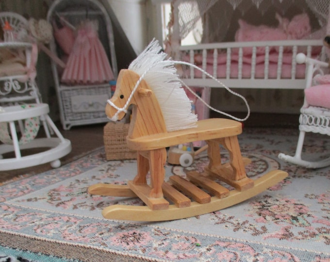 Miniature Rocking Horse, Mini Oak Wood Rocking Horse, Dollhouse Miniature, 1:12 Scale, Dollhouse Accessory, Decor, Toy