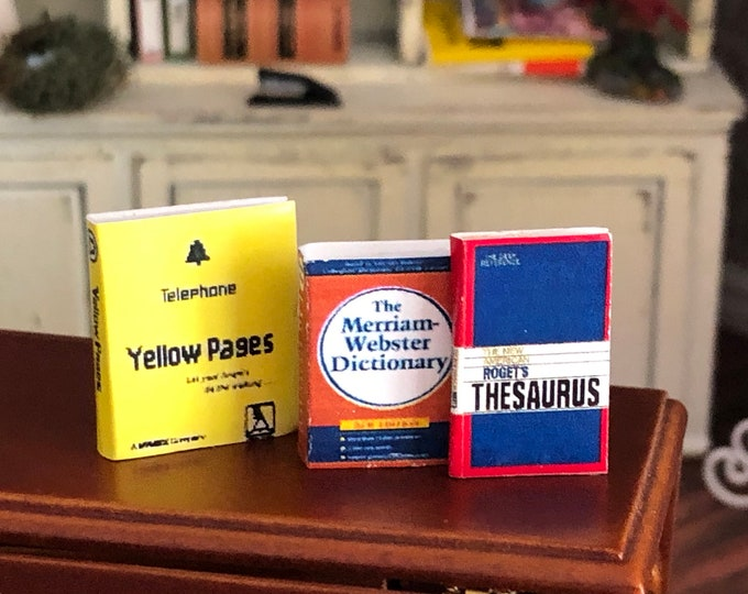 Miniature Desk Set Dictionary, Thesaurus & Yellow Pages, Dollhouse Office, Dollhouse Miniatures, 1:12 Scale, Book Set