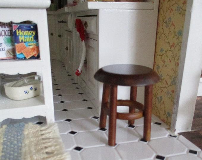 Miniature Stool, Mini Wood Stool, Style #21, Dollhouse Miniature Furniture, 1:12 Scale, Dollhouse Stool, Mini Round Stool