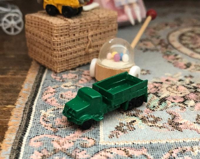 Miniature Toy Truck, Mini Green Truck, Dollhouse Miniature, 1:12 Scale, Dollhouse Accessory, Decor, Crafts