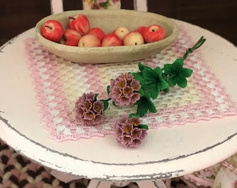 Miniature Rhododendron, 3 Stem Bunch With Leaves, #64PU, Dollhouse Miniature, 1:12 Scale, Miniature Flowers, Miniature Home & Garden Decor,