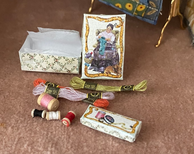 Miniature Sewing Boxes, 2 Mini Hand Made Boxes and Mini Sewing Supplies, Dollhouse Miniatures, 1:12 Scale, Dollhouse Decor, Accessory