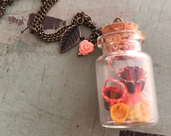 Glass Cork Top Jar Necklace, Jar Filled With Mini Baskets, Style #JF2, Necklace Pendant With 2 Charms and 30 Inch Chain, Basket Lover Gift