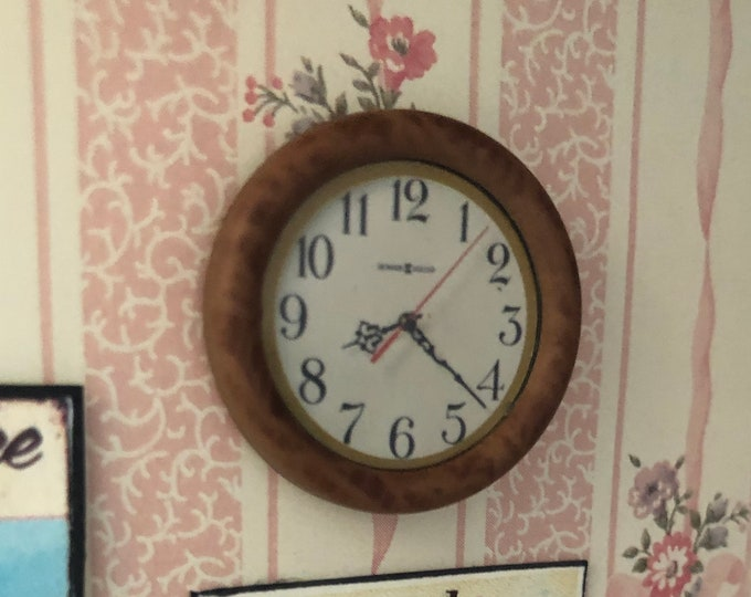 Miniature Wall Clock, Wood Framed Clock, Dollhouse Miniature, 1:12 Scale, Dollhouse Decor, Accessory, Mini Wall Clock