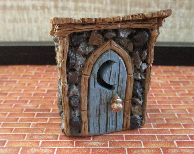 Mini Outhouse, Fairy Miniature Garden Building, Blue Door Outhouse