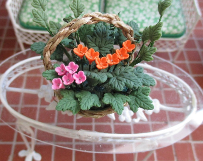 Miniature Flower Arrangement, Pink, Orange Flower Arrangement In Handle Basket, Style #42, Dollhouse Miniature, 1:12 Scale, Dollhouse Decor