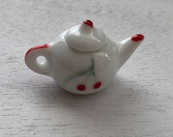Miniature Teapot, Ceramic Teapot, Red Cherries Tea Pot, Dollhouse Miniatures, 1:12 Scale, Dollhouse Decor, Crafts