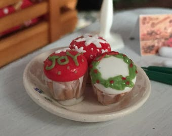 Miniature Christmas Cupcakes, Set of 3, Style 1, Dollhouse Miniature, 1:12 Scale, Miniature Food, Mini Cupcakes, Dollhouse Food