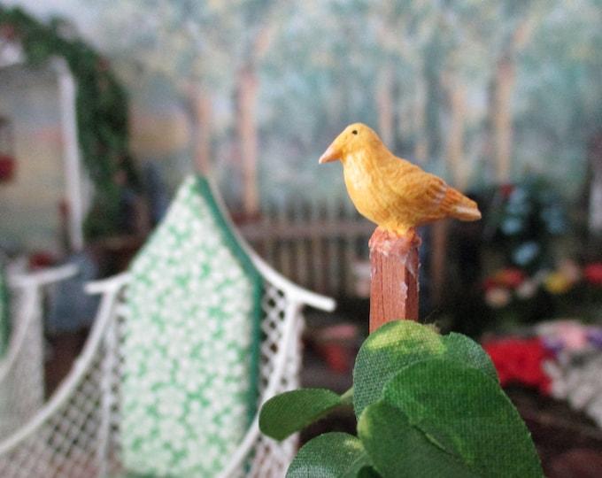 Miniature Bird Figurine, Norwich Fancy Yellow Canary, Style #01,  Dollhouse Miniature, Mini Bird, Dollhouse Accessory, Decor, Mini Pet