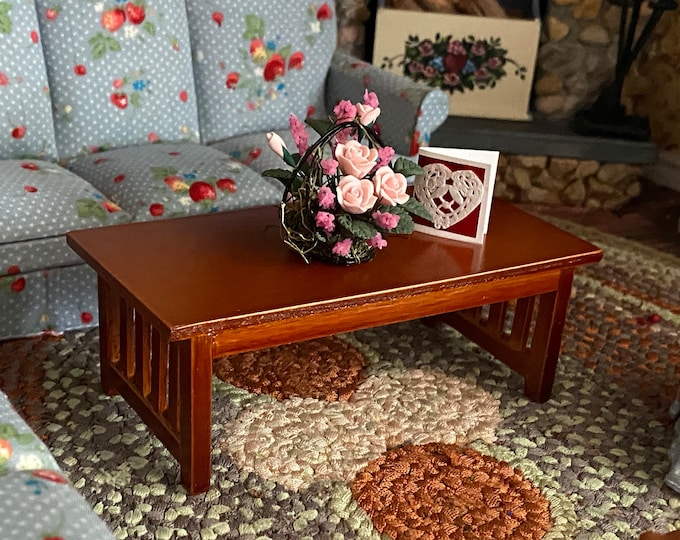 Miniature Coffee Table, Wood Table, Walnut Finish, Dollhouse Miniature Furniture, 1:12 Scale