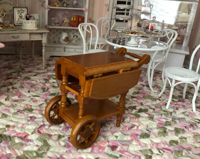 Miniature Tea Cart, Walnut Finish Wood Drop Leaf Tea Cart, Dollhouse Miniature Furniture, 1:12 Scale, Mini Cart
