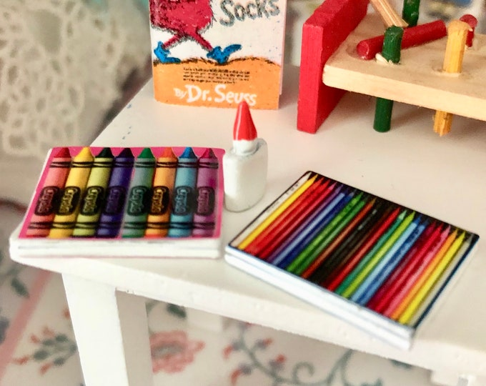 Miniature Coloring Crafting Set, Dollhouse Crayons, Pencils and Glue, Dollhouse Miniatures, 1:12 Scale, Dollhouse Decor, Crafts