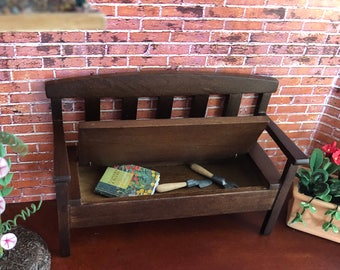 Miniature Garden Bench, Wood Garden Bench With Seat Storage, Walnut Finish Bench, Dollhouse Miniature, 1:12 Scale, Dollhouse Furniture
