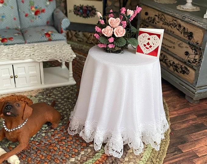 Miniature Table, White Skirted Table, Mini Round Table, Dollhouse Miniature Furniture, 1:12 Scale, Dollhouse Decor