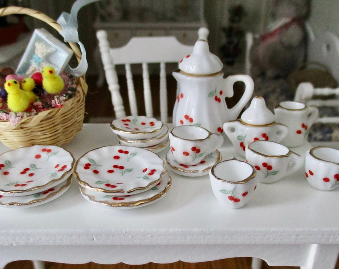 Miniature Cherry Tea Set, 17 Piece Set, White With Cherries, Gold Trim Dishes, Dollhouse Miniatures, 1:12 Scale, Dollhouse Accessory, Decor