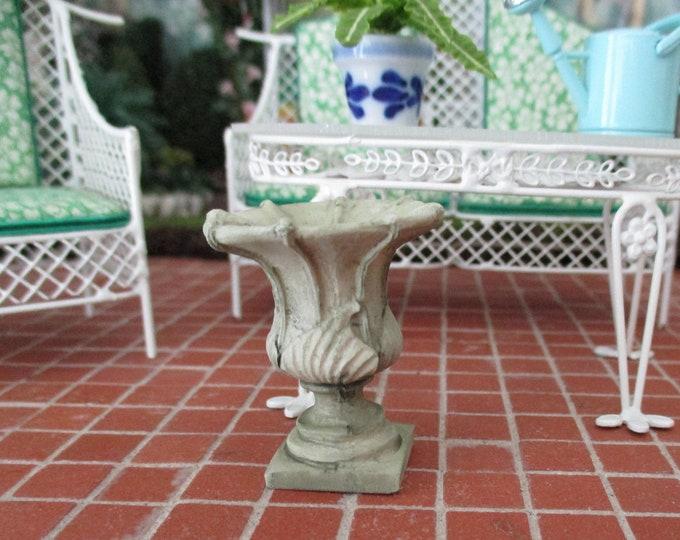 Miniature Urn Planter, Mini Cesar's Style Green Tinted Garden Planter, Style #97GN, Dollhouse Miniature, 1:12 Scale, Dollhouse Garden Decor