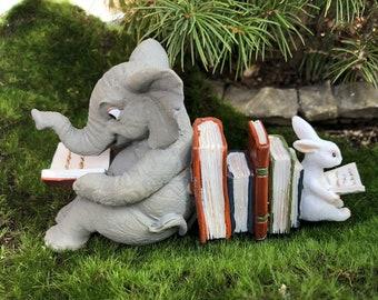 Elephant and Bunny Rabbit Reading Figurine #72, Fairy Garden Accessory, Home & Garden Decor, Shelf Sitter, Topper, Gift