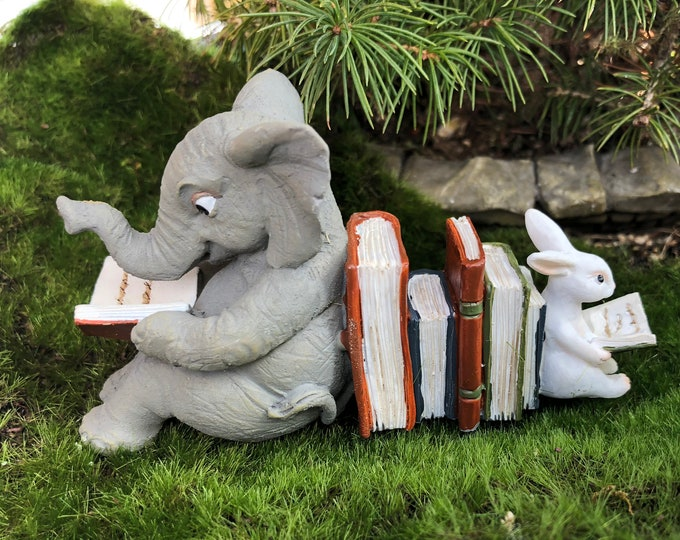 Elephant and Bunny Rabbit Reading Figurine #72, Fairy Garden Accessory, Home & Garden Decor, Shelf Sitter, Topper, Gift