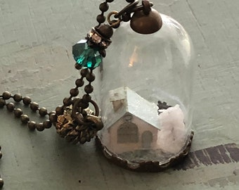 Glass Cork Top Jar Necklace, Mini Putz Style House Under Glass, Style JF9, Mini Dome, Chain and Charms, Christmas Necklace, Orn, Decor, Gift
