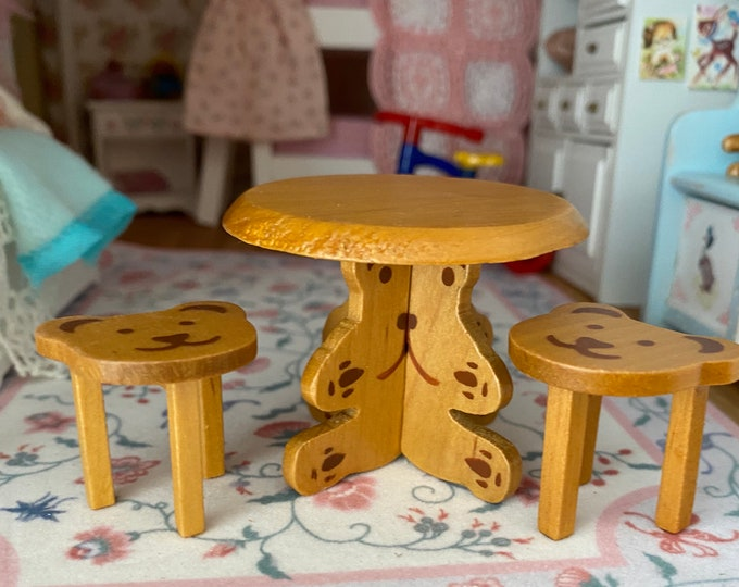 Miniature Bear Child Table Chair Set, Mini Wood Bear Table And 2 Chairs, Dollhouse Miniature, 1:12 Scale, Dollhouse Furniture, Kids Table