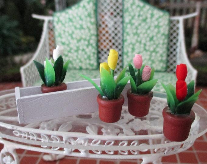 Miniature Tulips In White Wood Window Box, 4 Mini Tulips And Flower Box, 5 Pc Set,  Style #96, Dollhouse Miniature, 1:12 Scale