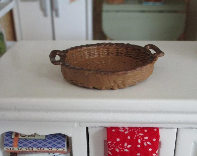 Miniature Basket, Mini Round Handle Basket, Dollhouse Miniature, 1:12 Scale, Brown Basket, Dollhouse Decor, Accessory