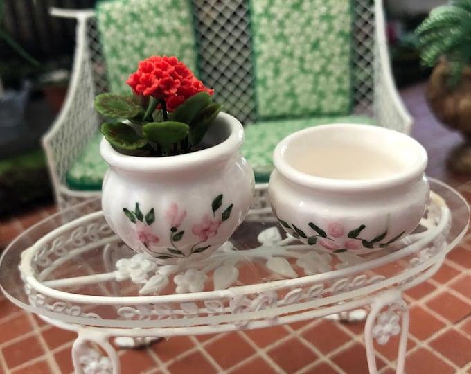 Miniature Ceramic Planters, Set of 2, Rose Garden Planters, Style #34, Dollhouse Miniatures, 1:12 Scale, Dollhouse Accessories, Crafts