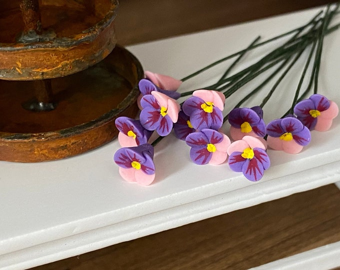 Miniature Flowers, Wire Stem Pink and Purple Pansies, 12 Pc Set, Style #07-4, Dollhouse Miniature, 1:12 Scale, Mini Pansy on Wire Stem