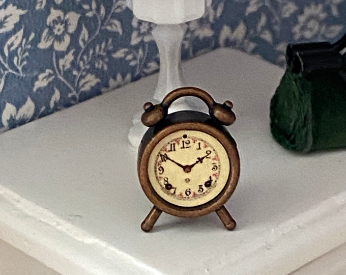 Miniature Alarm Clock, Style 02-1, Dollhouse Miniature, 1:12 Scale, Dollhouse Accessory, Decor, Mini Antique Style Wind Up Alarm Clock