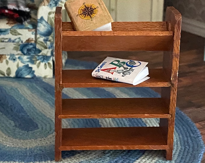 Miniature Wood Bookshelf, Mini Shelves, Dollhouse Miniature, 1:12 Scale, Dollhouse Furniture, Mini Bookshelf