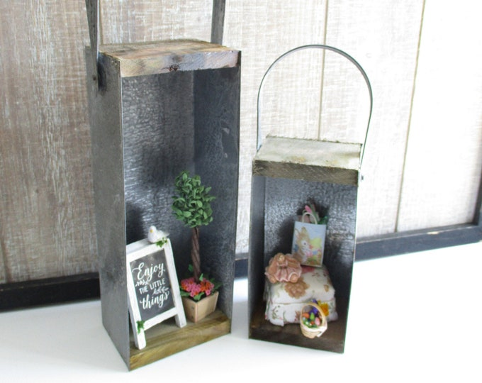 Rustic Candle Boxes, Farmhouse Decor, Galvanized Metal & Wood Boxes With Handles For Hanging Or Table Top Display, 2 Piece Set