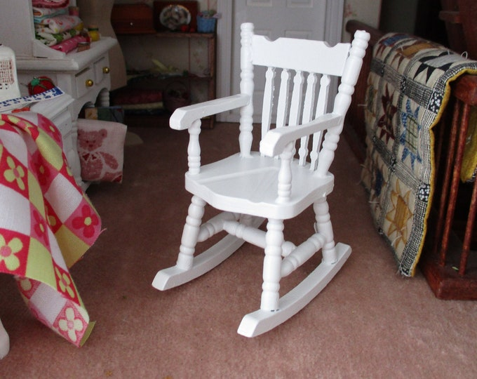 Miniature White Wood Rocking Chair, Style #02, Dollhouse Miniature Furniture, 1:12 Scale, White Rocker