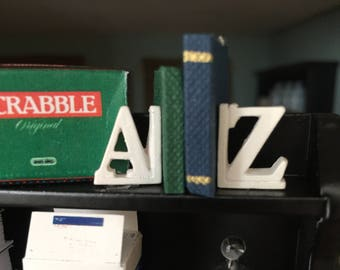 Miniature Bookends, A and Z, Dollhouse Miniatures, 1:12 Scale, White Bookends, Dollhouse Bookends, Miniature Accessory, Decor, Crafts