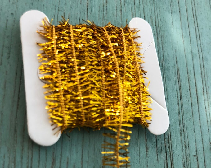 Miniature Tinsel Garland, Gold, 2 Yards, Dollhouse Miniature, 1:12 Scale, Dollhouse Accessory, Decor, Crafts