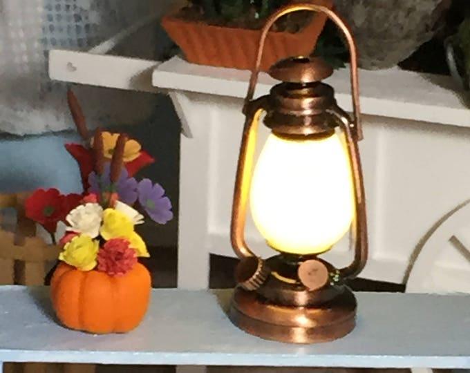Miniature Copper Lantern, LED Working Lantern With Battery, Dollhouse Miniature, 1:12 Scale, Dollhouse Light, Mini Lamp, Lantern
