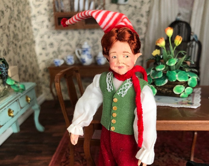 Miniature Elf Dollhouse Doll, Dollhouse Miniature, 1:12 Scale, Doll By Falcon Backstrom Designer, Mini Christmas Elf, Elf Doll Figure
