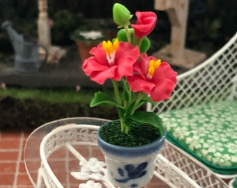 Miniature Hibiscus, Mini Red Hibiscus in Ceramic Flower Pot, Dollhouse Miniature, 1:12 Scale, Mini Flower, Dollhouse Decor, Accessory