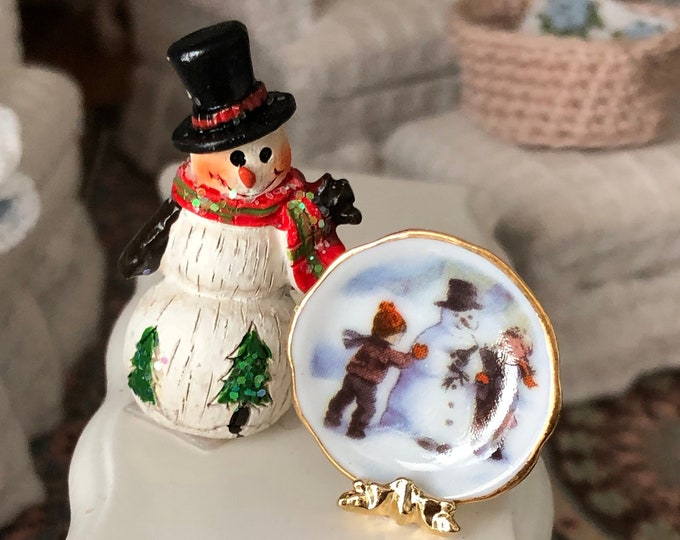 Miniature Snowman Figurine and Plate Set, by Reutter Porcelain, Clearance Priced, Dollhouse Miniature, 1:12 Scale, Holiday Decor