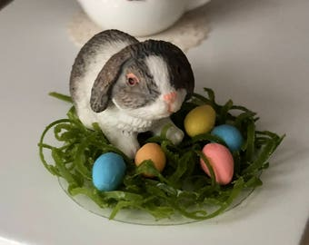 Miniature Bunny Rabbit With Eggs Figurine, #41, Easter Decor, Dollhouse Miniature, 1:12 Scale, Dollhouse Accessory, Crafts, Topper