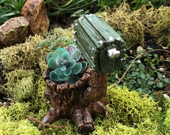 Mini Mailbox, Wood Look Shingletown Mail Box on Tree Stump Planter, Fairy Garden Accessory, Mini Home & Garden Decor, Crafts, Topper