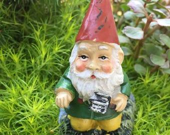 Mini Gardening Gnome Figurine, Kneeling Gnome With Garden Shovel, Miniature Gardening Accessory, Home and Garden Decor, Mini Gnome