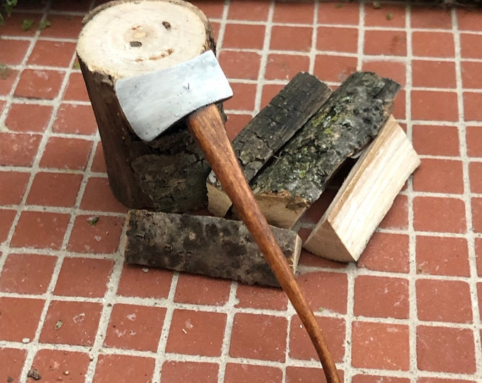 Miniature Axe Set with Stump and Logs, Hand Crafted Axe, Dollhouse Miniature, 1:12 Scale, Dollhouse Accessory, Decor, Crafts, Mini Axe