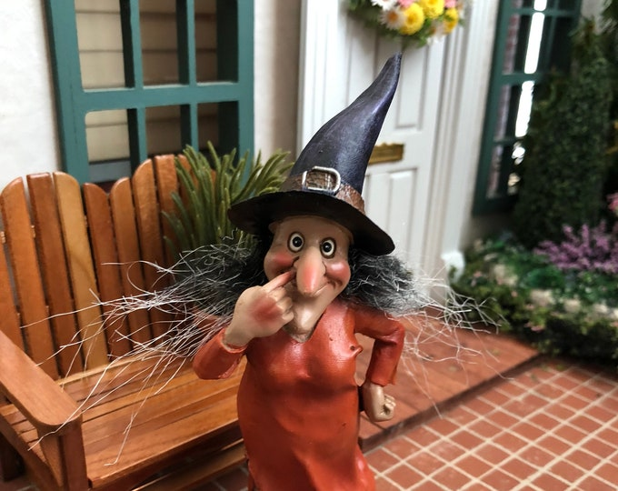 Witch Figurine, Standing Witch In Orange, Fairy Miniature Garden Decor, Halloween Decoration, Shelf Sitter, Gift, Topper