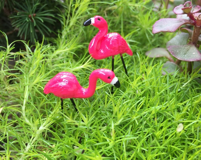 Mini Pink Flamingos, Mini Garden Picks, Set of 2, Fairy Garden Accessory, Miniature Home & Garden Decor, Crafts, Topper