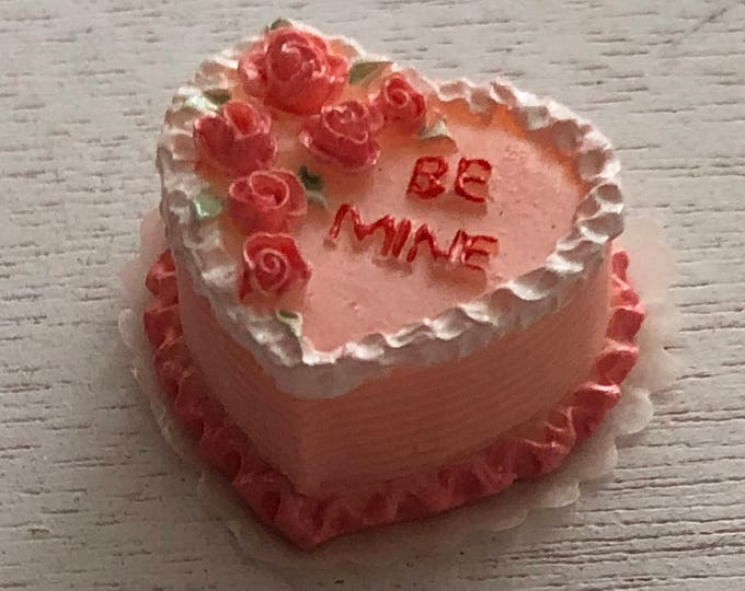 "Miniature Cake, Pink Heart Cake, ""Be Mine"", Valentine Cake, Dollhouse Miniature, 1:12 Scale, Mini Food, Dollhouse Food, Accessory, Decor"