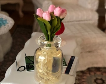 Miniature Tulips in Glass Vase with Roots, Dollhouse Miniature, 1:12 Scale, Dollhouse Accessory, Decor, Mini Flowers