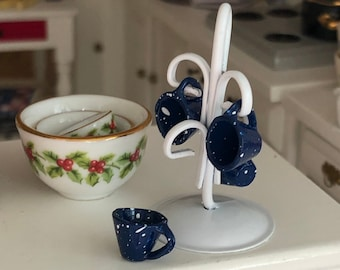 Miniature Mug Holder with Enamel Look Blue Cups, Mini Mugs and Rack, Dollhouse Miniature, 1:12 Scale, Dollhouse Accessory, Kitchen Decor