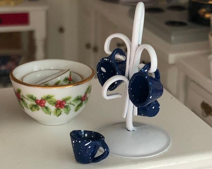 Miniature Mug Holder with Enamel Look Blue Cups, Mini Mugs and Rack, Dollhouse Miniature, 1:12 Scale, Dollhouse Accessory, Kitchen Decor