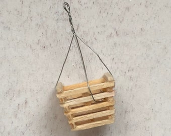 Miniature Hanging Basket, Wood Slatted Planter With Hanger, Dollhouse Miniature, 1:12 Scale, Mini Home & Garden Decor, Crafts