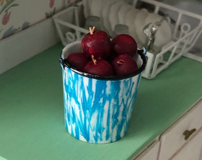 Miniature Apples in Blue Flow Look Bucket, Dollhouse Miniatures, 1:12 Scale, Dollhouse Decor, Mini Food, Dollhouse Accessory, Mini Fruit